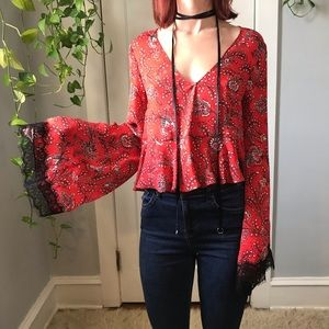 Cinq a Sept Lace Silk French Choker Blouse Shirt